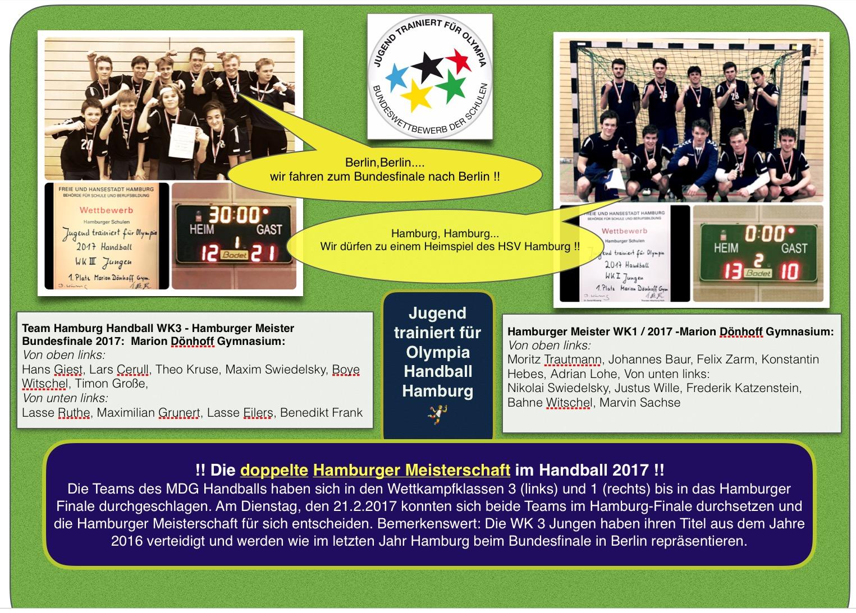 !!Die doppelte Hamburger Meisterschaft im Handball 2017!!