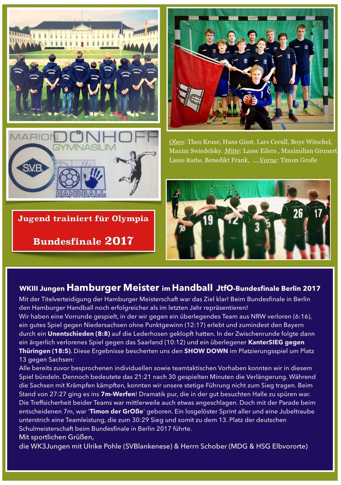 WKIII Jungen Hamburger Meister im Handball  JtfO-Bundesfinale Berlin 2017